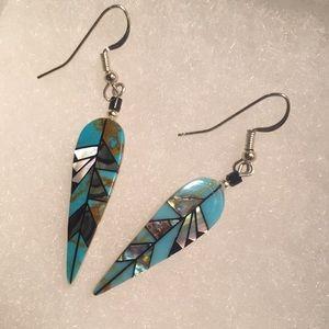 Jewelry - Gorgeous handmade inlay bone and gemstone earrings